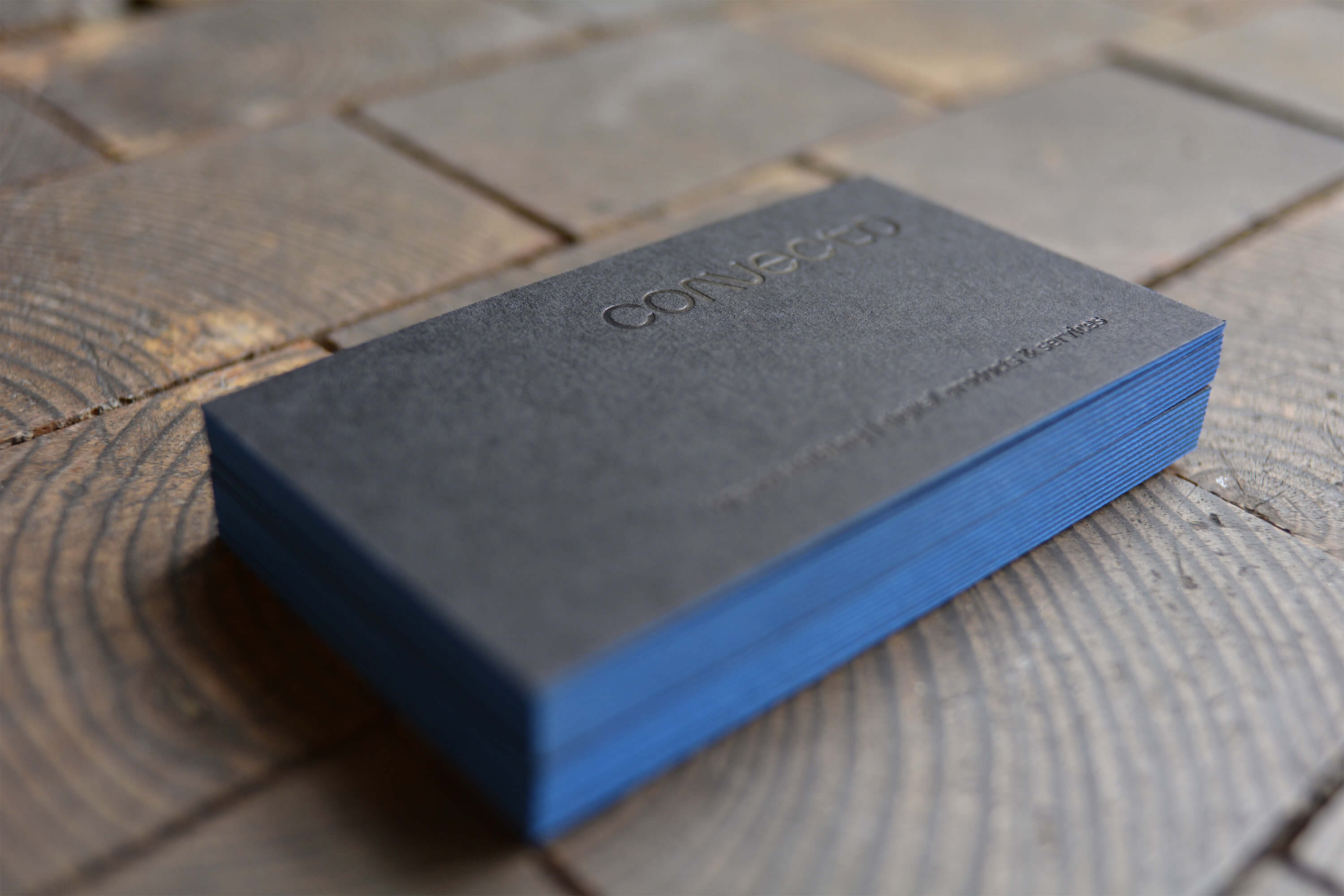 "Business cards for ""Convecto"" with colored edging"