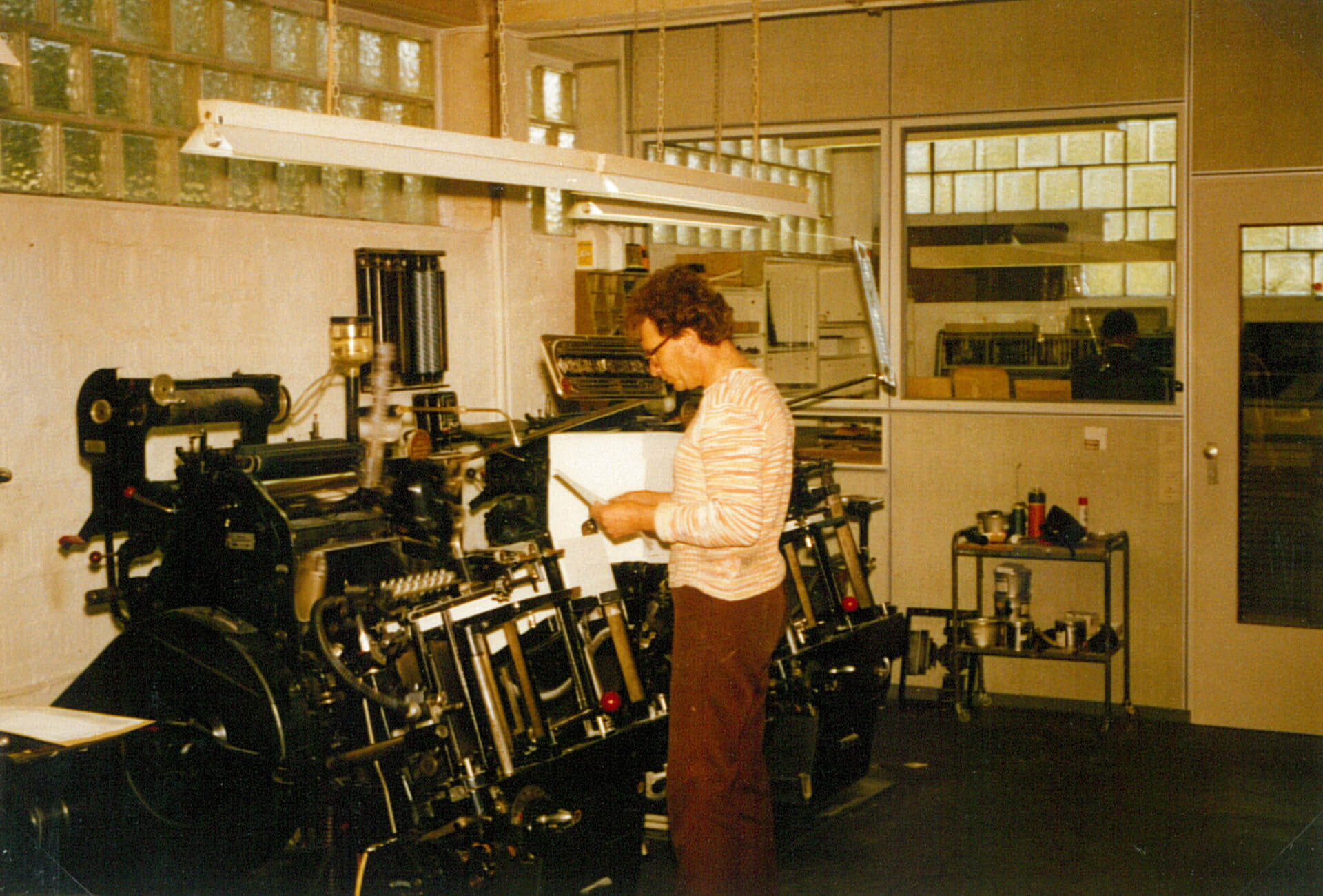 Letterpress department at Bölling, 1980