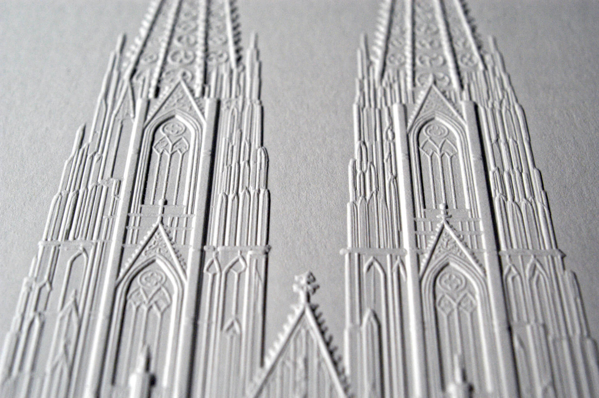 Relief blind embossing of Cologne Cathedral