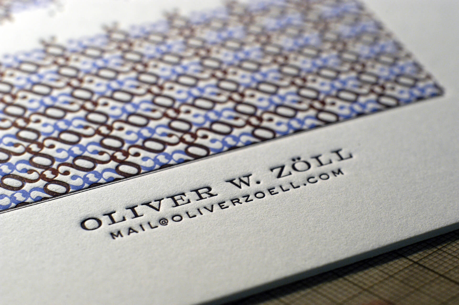 Business cards printed with letterpress in three colors